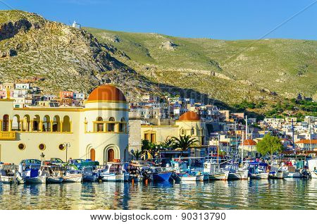 Pothia, capital and the port of Kalymnos, Greece