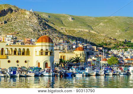 Pothia, capital and the port of Kalymnos, Greece
