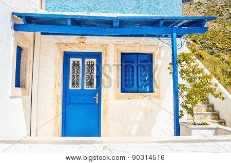 Wooden blue doors and windows, Greece