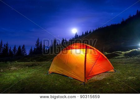 Illuminated Orange Camping Tent