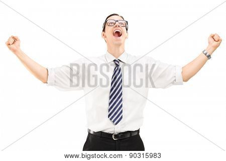 Delighted young businessman looking up isolated on white background