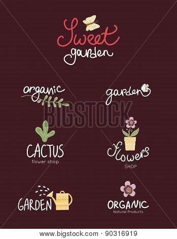 sweet garden, set of floral, garden and organic logo