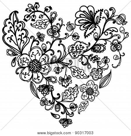 Beautiful vector floral ornate heart