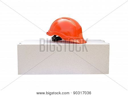 Concrete Block And Protective Helmet