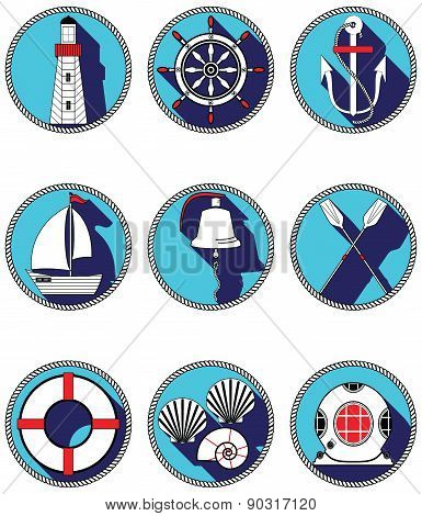 Nautical Elements I Icons In Knotted Circle