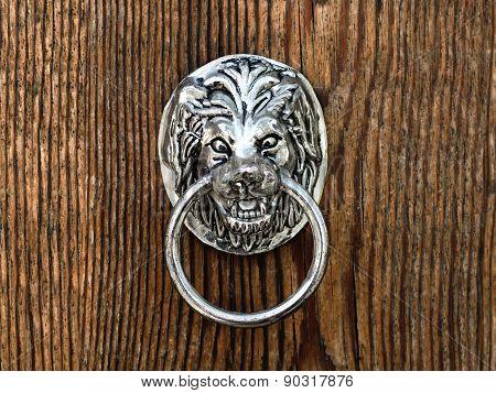 Old Door Handle In Form Of Lion Muzzle