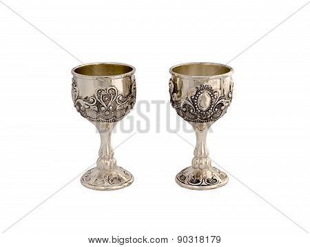 Silver Wine-glasses Isolated On White Background.