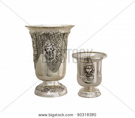 Vase From Silver On A White Background