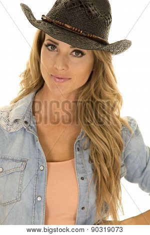 Cowgirl With Long Blond Hair Black Hat Close