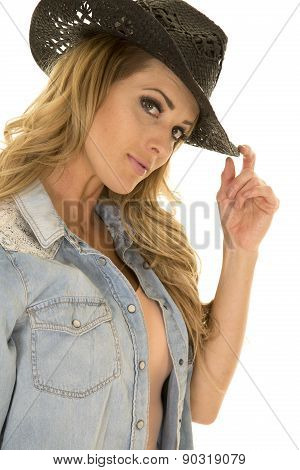 Cowgirl With Long Blond Hair Black Hat Close Looking