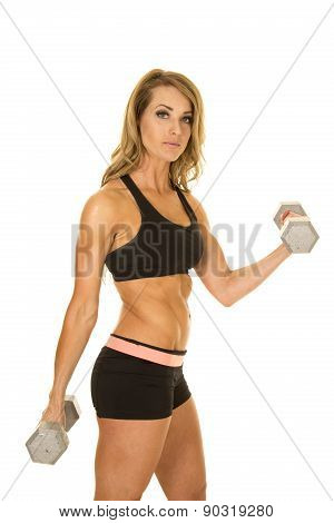Fit Woman In Black Shorts And Top Stand Side Curl