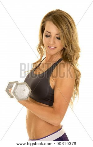 Fit Woman In Purple Shorts Close Side Curl