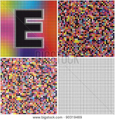 Letter E (mixed Mosaic)