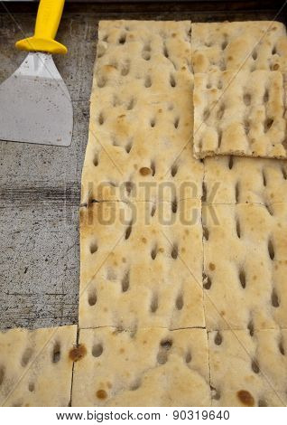 typical ligurian salted cakes called focaccia