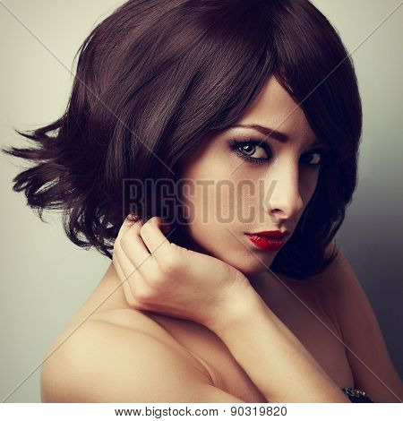 Beautiful Makeup Model With Short Black Haircut And Vamp Look