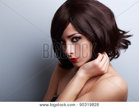Sexy Bright Makeup Woman With Short Black Hair Style