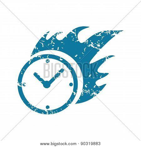 Grunge burning clock icon