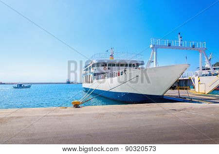 Empty ferry in typical Greek blue white colors