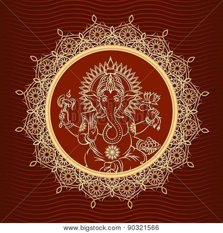 Lord Ganesha sunburst