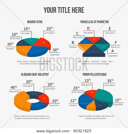 Vector pie charts in modern 3d flat style
