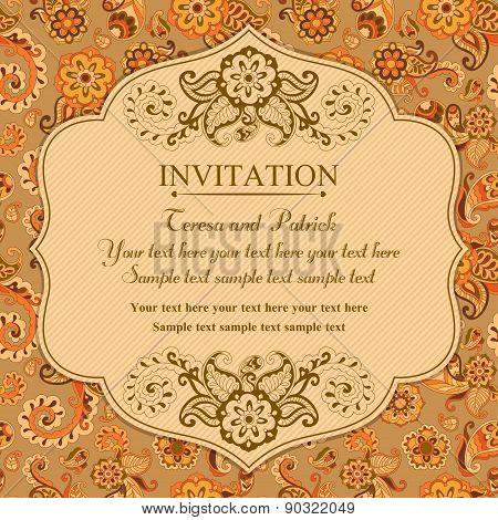 Invitation in east turkish style, orange