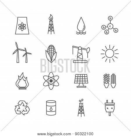 Energy icons in art line style