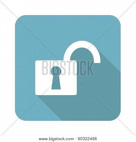 Square open padlock icon