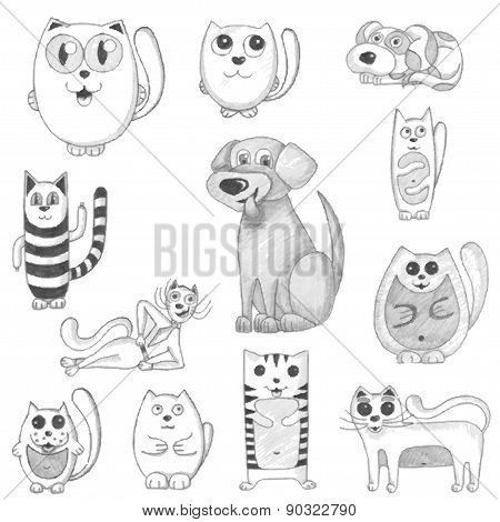 Hand drawn cats and dogs set