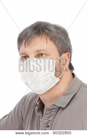 Man in medical mask isolated on white background