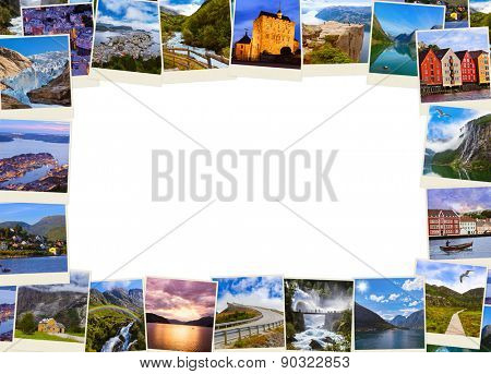 Frame made of Norway travel images - nature and architecture background (my photos)