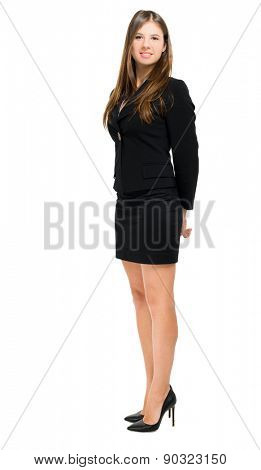 Smiling woman full length on white background