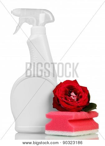 Cleaning products and rose