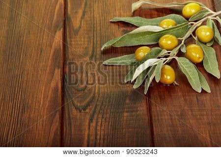 Olives on table
