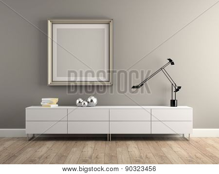 Part of Interior modern design room 3D rendering