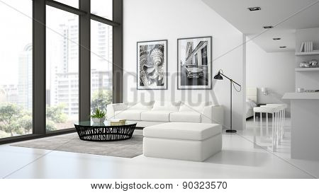 Interior of the modern design  loft  white color 3D rendering
