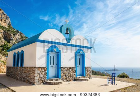 Typical Greek blue dome church, Greece