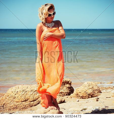 Fashion Blonde Female In Vacation