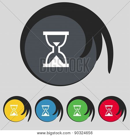 Hourglass, Sand Timer Icon Sign. Symbol On Five Colored Buttons. Vector