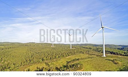 Aerial from windmills in the countryside from Portugal