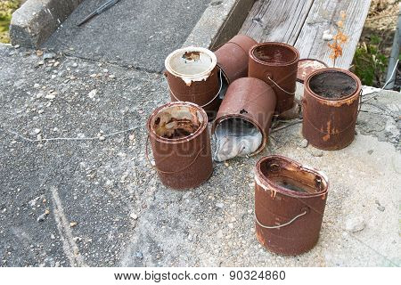 Rusted Paint Buckets