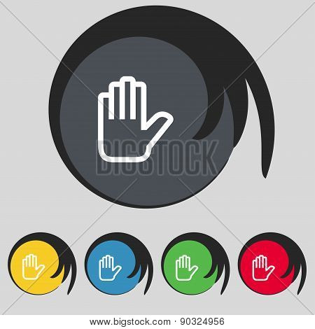 Hand Print, Stop Icon Sign. Symbol On Five Colored Buttons. Vector