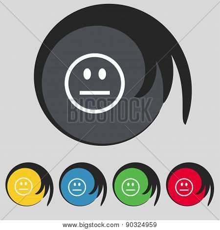 Sad Face, Sadness Depression Icon Sign. Symbol On Five Colored Buttons. Vector