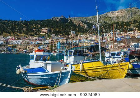 Colorful boats in Greek port, Greece