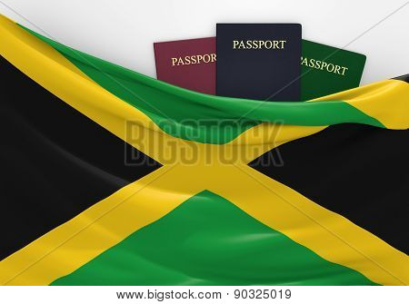 Travel and tourism in Jamaica, with assorted passports