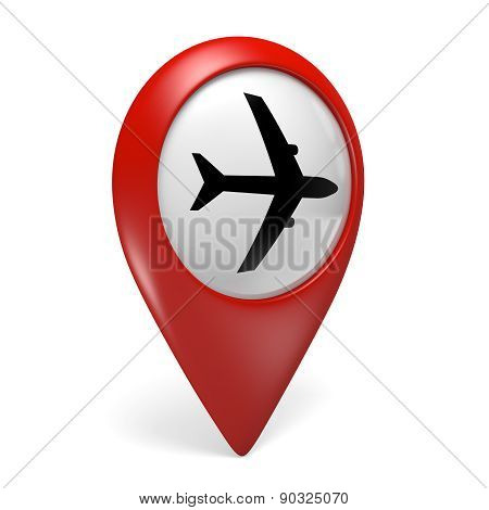 3D red map pointer icon with a plane symbol for airports