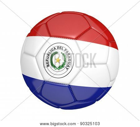 Soccer ball, or football, with the country flag of Paraguay