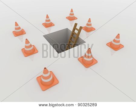 Traffic Cones Around Manhole And Ladder, 3D Render