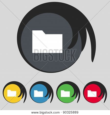 Document Folder Icon Sign. Symbol On Five Colored Buttons. Vector