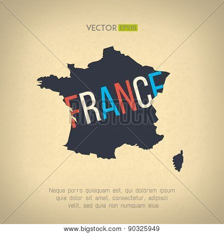 Vector france map in vintage design. French border on grunge background. Letters are not cut and eas