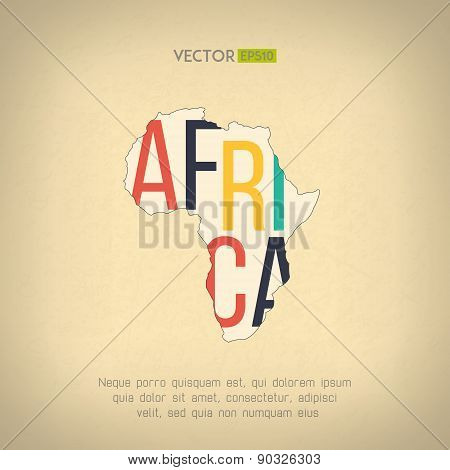 Vector africa map in vintage design. African border on grunge background. Letters are not cut and ea